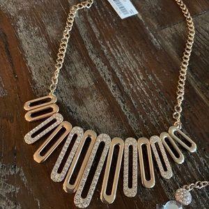 NWT Alfani Gold Diamond Oval Statement Necklace